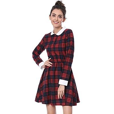 Allegra K Women's Contrast Peter Pan Collar Check Christmas Dress