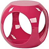 Avenue Six AVE SIX Slick High Gloss Finish Cube Occasional Table, Pink