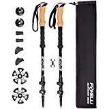 Foxelli Trekking Poles – Collapsible, Lightweight, Shock-Absorbent, Carbon Fiber Hiking, Walking & Running Sticks with Natural Cork Grips, Quick Locks, 4 Season/All Terrain Accessories and Carry Bag