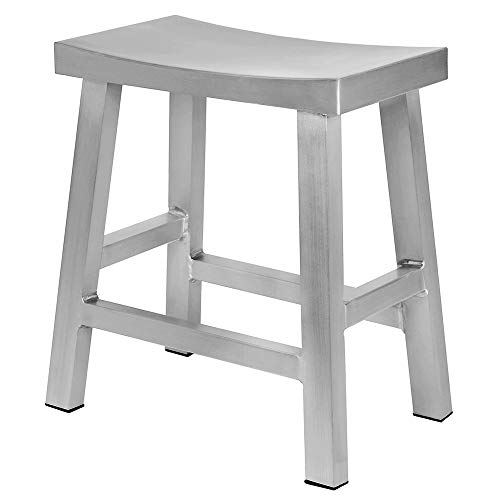 - Renovoo Aluminum Saddle Seat Dining Stool, Commercial Quality, Brushed Aluminum Finish, 18 Inch Chair Height, Indoor Outdoor Use, Set of 1