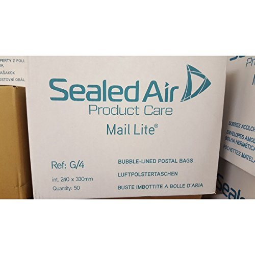 100 X G/4 MAIL LITE SEALED AIR PADDED ENVELOPES - WHITE A4 SIZE (230 x 325mm) Sealed Air Corporaton (MAIL LITE)