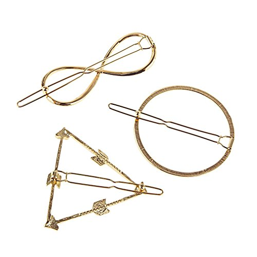 Gold Glitter Jeweled Queens Crown (MONOMONO-3pcs Women Infinity Circle Triangle Hair Pin Clip Hair Accessories Gifts)
