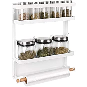 Haturi Magnetic Spice Rack, Foldable Kitchen Fridge Organizer Shelf for Storage Spice, Condiment, Seasoning (Medium,White)