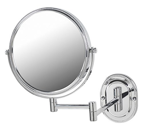 Jerdon JP7507CB 8-Inch Wall Mount Makeup Mirror with 7x Magnification, Chrome Beaded Finish
