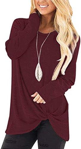Yidarton Women's Comfy Casual Twist Knot Tunics Tops Blouses Tshirts