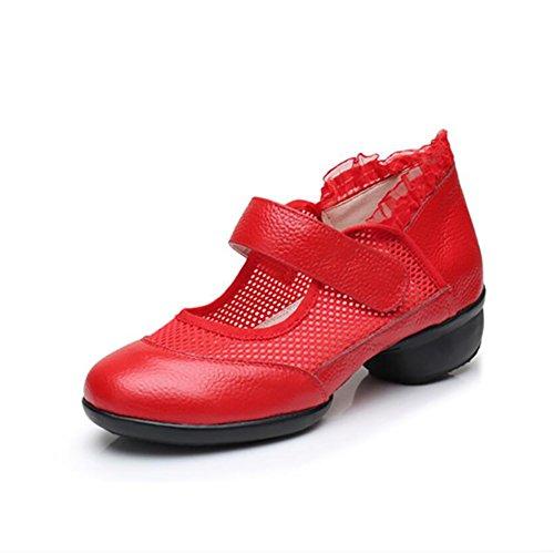 Un moderne Colore Scarpe Sneakers arrotondata Dimensione in con Scarpe passeggio Scarpe Scarpe da Scarpe Quadrato ballo Comfort da XUE traspiranti da donna pelle ballo da latine 39 velcro B Punta AqxwC554