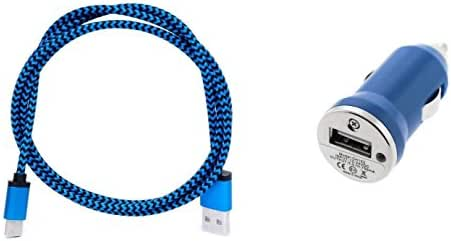Cell-Stuff Blue Braided Auto Car Charger Including Micro 3 FT Charging Cable and Cigarette Lighter Adapter Compatible w/Samsung Galaxy Halo and Similar USB Compatible Cell Phones