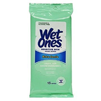Wet Ones Wipes for Hands & Face, 20 Count Travel Pack (Pack of 5) 100 Wipes Total (Sensitive) by Wet Ones (Image #1)
