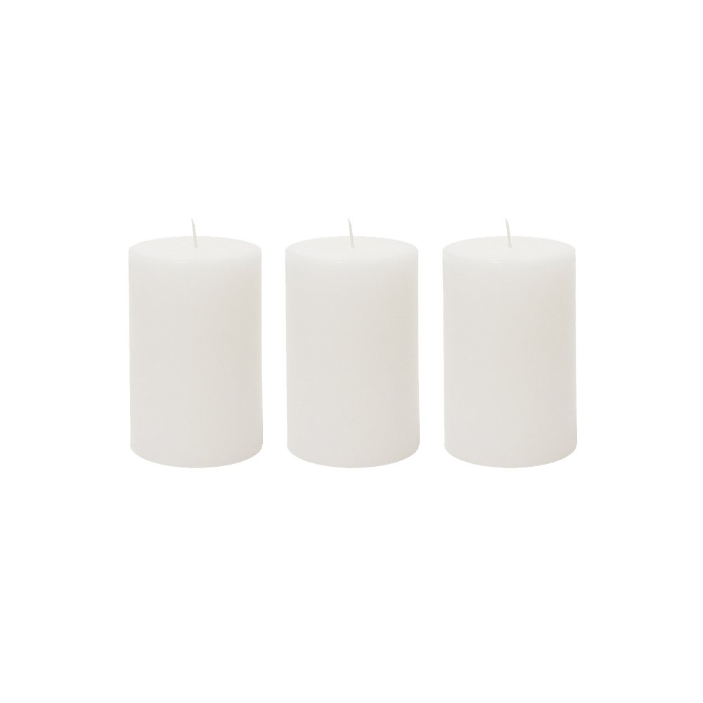 (3, 5.1cm x 7.6cm Round) - Mega Candles 3 pcs Unscented White Round Pillar Candle Hand Poured Premium Wax Candles 5.1cm x 7.6cm For Home Decor, Wedding Receptions, Baby Showers, Birthdays, Celebrations, Party Favours & More B0756QPDQ9