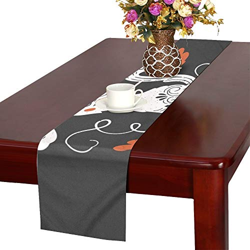 Halloween Greeting Card Flyer Banner Table Runner, Kitchen Dining Table Runner 16 X 72 Inch for Dinner Parties, Events, -
