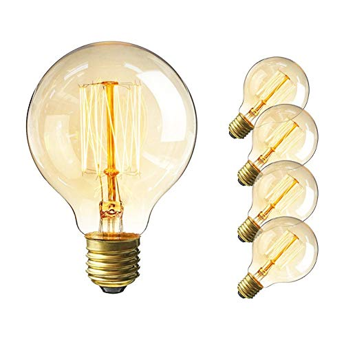 Lakes Vintage Edison Bulb, 60W Retro Incandescent Light Bulb E26 Medium Screw Base, G25 / G80 Classic Amber Glass Incandescent Filament Lamp,360 Degrees Beam Angle, Pack of 4