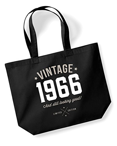 50th Birthday, 1966 Keepsake, Funny Gift, Gifts For Women, Novelty Gift, Ladies Gifts, Female Birthday Gift, Looking Good Gift, Ladies, Shopping Bag, Present, Tote Bag, Gift Idea (Black)
