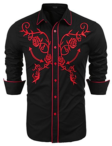 (COOFANDY Men's Long Sleeve Embroidered Shirt Slim Fit Casual Button Down Shirts, 02-red&black, Medium)