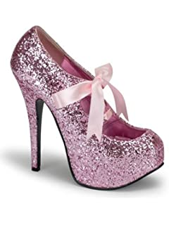 Amazon.com | Sexy Hot Pink Glitter High Heel Platform Pump - 7 | Pumps