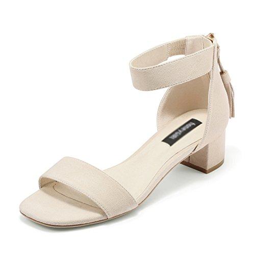 Sandals ZCJB Summer Word Buckle Coarse Heel Female Black Career High Heels Wild Open-toed Shoes (Color : Black, Size : 37) Apricot