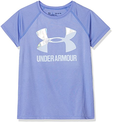 Under Armour Girls Solid Big Logo Short Sleeve T-Shirt, Talc Blue /Oxford Blue, Youth - Short Logo T-shirt Raglan Sleeve