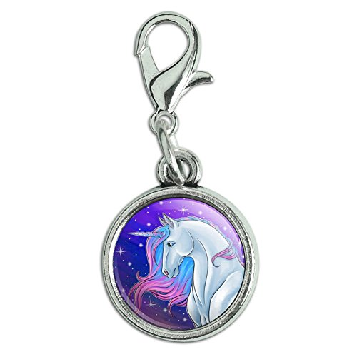 GRAPHICS & MORE Majestic Unicorn Pink Purple Blue Antiqued Bracelet Pendant Zipper Pull Charm with Lobster - Jewelry Pull Charm Zipper