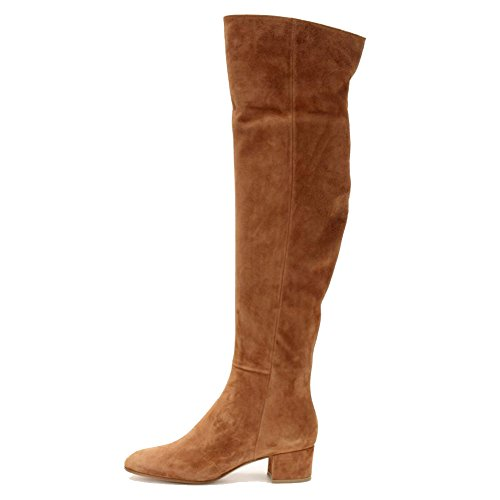 Shoes Autumn Knee Brown Suede Heels Winter MERUMOTE Leather Over Chunky Waterproof Women's Boots xzOWaRqX