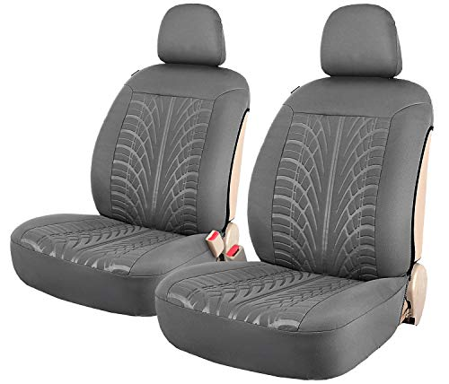 Embossed 2 Car Front Seat Covers Grey Side-less Quick Install Auto Protection with Headrest Covers - Leader Accessories