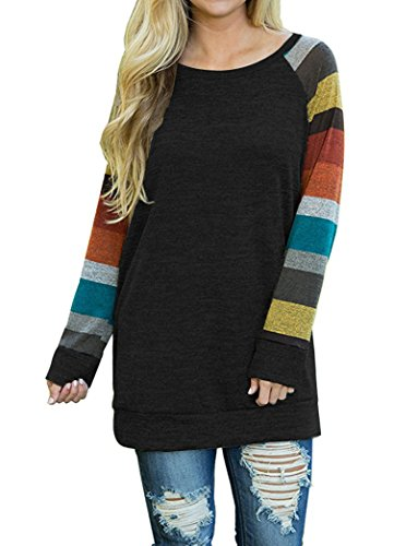 AUSELILY Womens Long Sleeve Multicolor Round Neck Casual Slim Tunic Tops Black Yellow