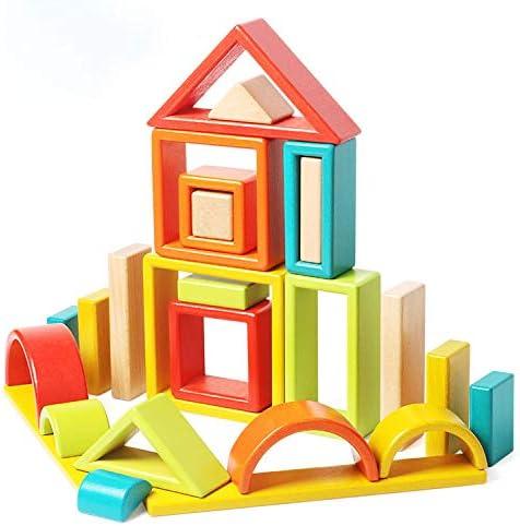 Agirlgle Large Wood Building Blocks Satz für Toddlers Kids 32 Pcs Construction Building Toys Satz Preschool Learning Educational Toys - Rainbow Stacker Wooden Blocks für Boys & Girls