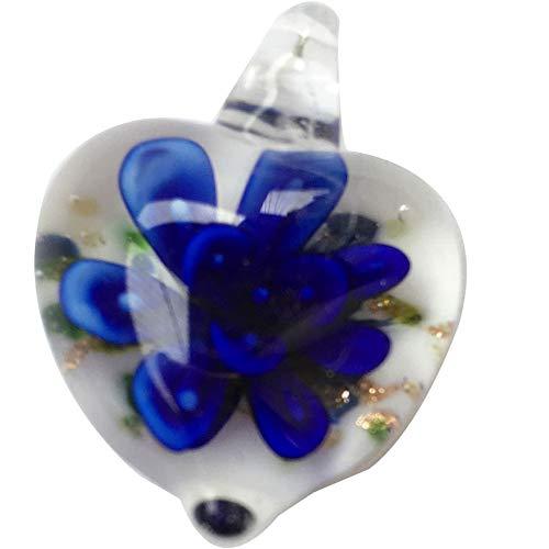 Jewelry58718 Fashion Lampwork Glass Heart Flower Pendant Bead (Blue C7416)
