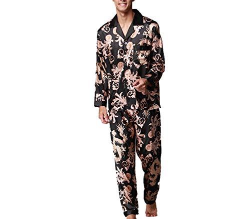 (Fashion Dragon Printed Mens Satin Silk Pajama Set Long Sleeve Shirt + Pants Men Pajamas Set Home Sleepwear Black )