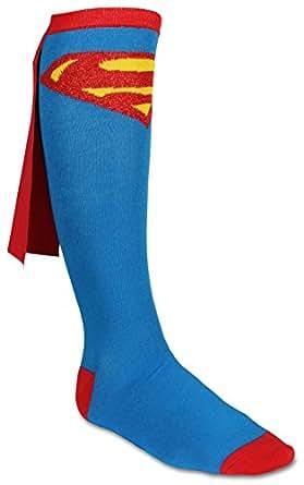 Junior's Superman Cape Knee High Socks - One Size (Blue)