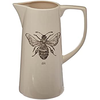 Creative Co-Op White Ceramic Pitcher with Bee Image