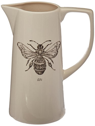 (Creative Co-Op White Ceramic Pitcher with Bee Image)