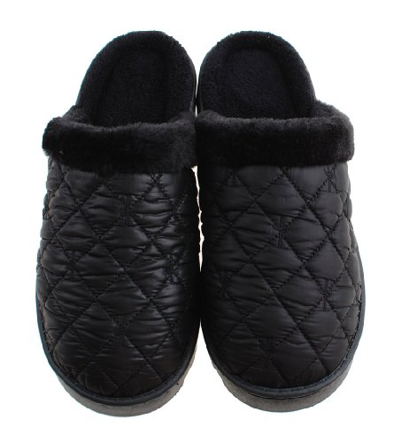 Colorfulworldstore Waterproof cotton slippers- Winter coral fleece Warm house shoes/snow boots for man&women's Man-Black whOWov