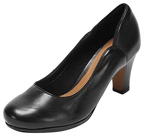 Clarks Chorus Nights - zapatos de tacón cerrados de cuero mujer Negro (Black Leather)