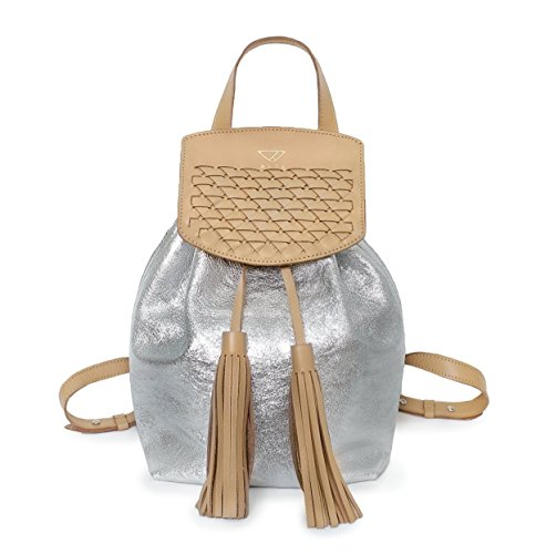 RAYEN metallic silver leather backpack | Personalized tan silver backpack (Handbag Mini Leather Italian Woven)