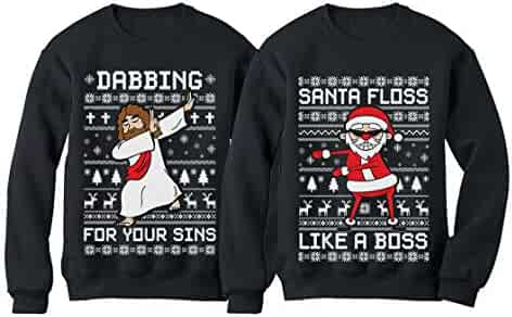 7cb6f507 Dabbing Jesus and Flossing Santa Ugly Sweater Sweatshirt Set for Women and  Men
