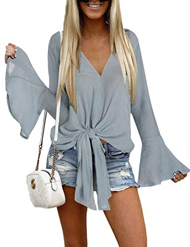 Luyeess Women's Grey V Neck Blouse Long Bell Sleeve Tops Tie Front Knot Solid Shirt XL(US 16-18) ()