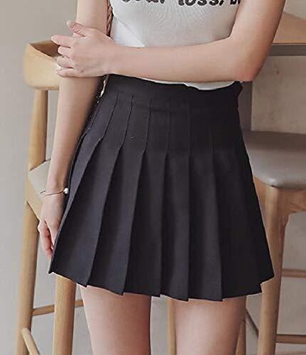 Donna Dress Girls Corte Da color S Size Vita Gonne Gray Alta Pieghe A Black Home Azqdarq