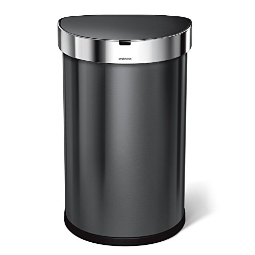 simplehuman Semi-Round Sensor Trash Can 45 L/11.89 Gal, Black Stainless Steel by simplehuman