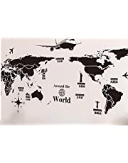 ستيكر لاصق للحائط بنمط خريطة العالم، ستيكر لاصق فني للحائط لتزيين المنزل