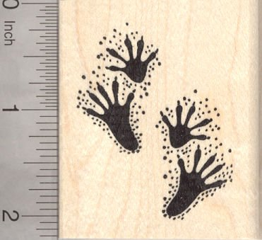 Raccoon Paw Prints Rubber Stamp, Pawprint, Racoon