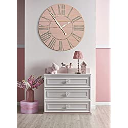 BrandtWorks LLC Vintage Tea Rose Farmhouse Wall Clock, 30 x 30, Pink/Grey