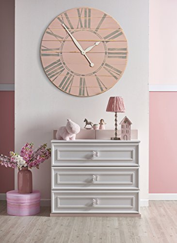 BrandtWorks Vintage Tea Rose Wall Farmhouse Clock, 30 x 30, Distressed Pink/Gray/Antique White For Sale
