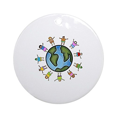 Christmas Ornaments for Kids Peace Love Multicultural Children Round Ornament Crafts Xmas Gift Tree Decorative (Crafts Christmas Multicultural)