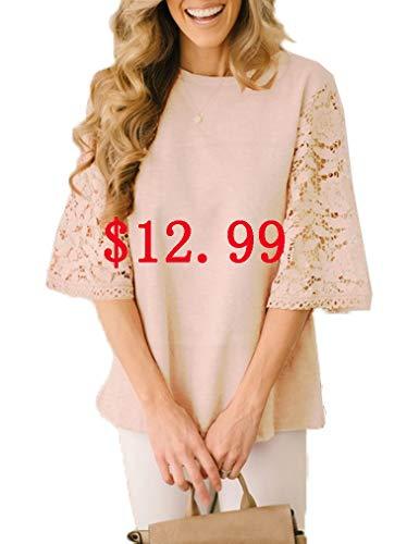 Lace Tops for Women's 3/4 Ruffle Sleeve Blouse Basic Crochet Tunic Shirts Cracker Khaki, S