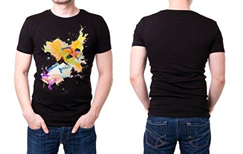 Running_VI schwarzes modernes Herren T-Shirt mit stylischen Aufdruck