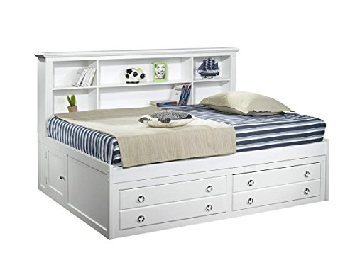 Vienna Youth Full Captains Lounge Storage Bed in White - Youth Full Captain Bed