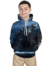 CHOICE99 Godzilla Hoodie for Children Monsters Boys 3D Print Hoodie Sweater Long Sleeve Hoodies