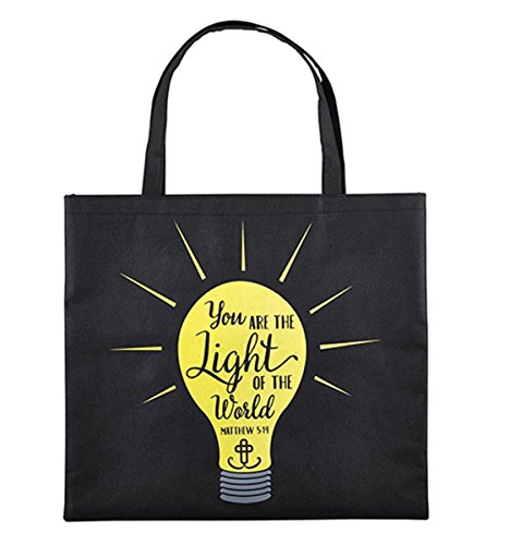 You are the Light of the World Glow in the Dark Polyester Nylon Tote Bag, 13 (Catholic Tote Bag)
