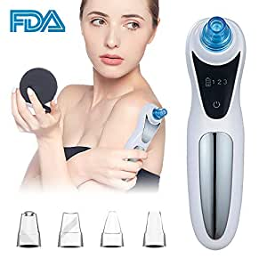 Vacuum Blackhead Remover Electric Facial Pore Cleaner Acne Comedone Extractor Kit with 4 Suction Head for Women and Men - Perfect Black Heads Extraction for Skin Treatment
