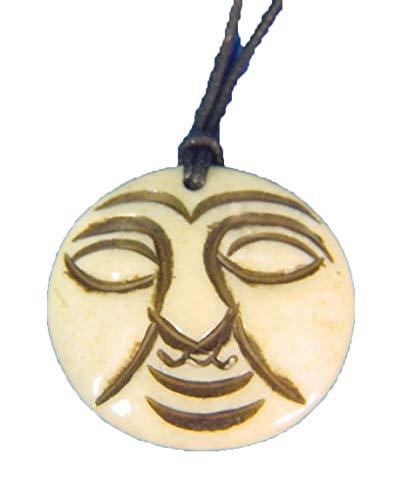 Ox Bone Tooth Moon Pendant Pagan Necklace