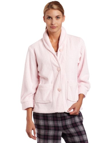 Casual Moments Womens Bed Jacket With Shawl Collar, Light Pink, Small